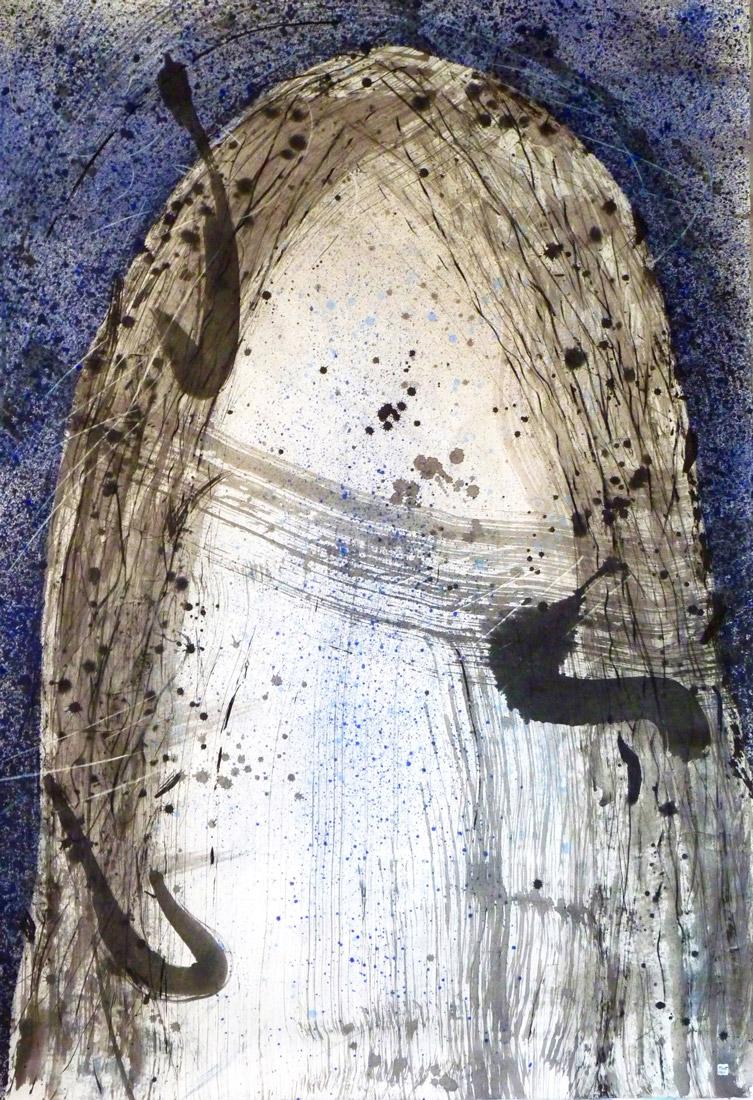 Christophe Tissot 2011 SérieHutte - Encres, craies, tempera sur papier d'extrême Orient 2,11 x 1,47 m