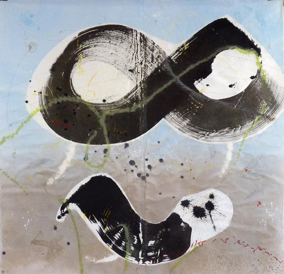 """Christophe TISSOT - Série """"New Signs"""" - 2015 - Encre, craies et pigments sur papier d'extrême orient -186 x 191 cm"""