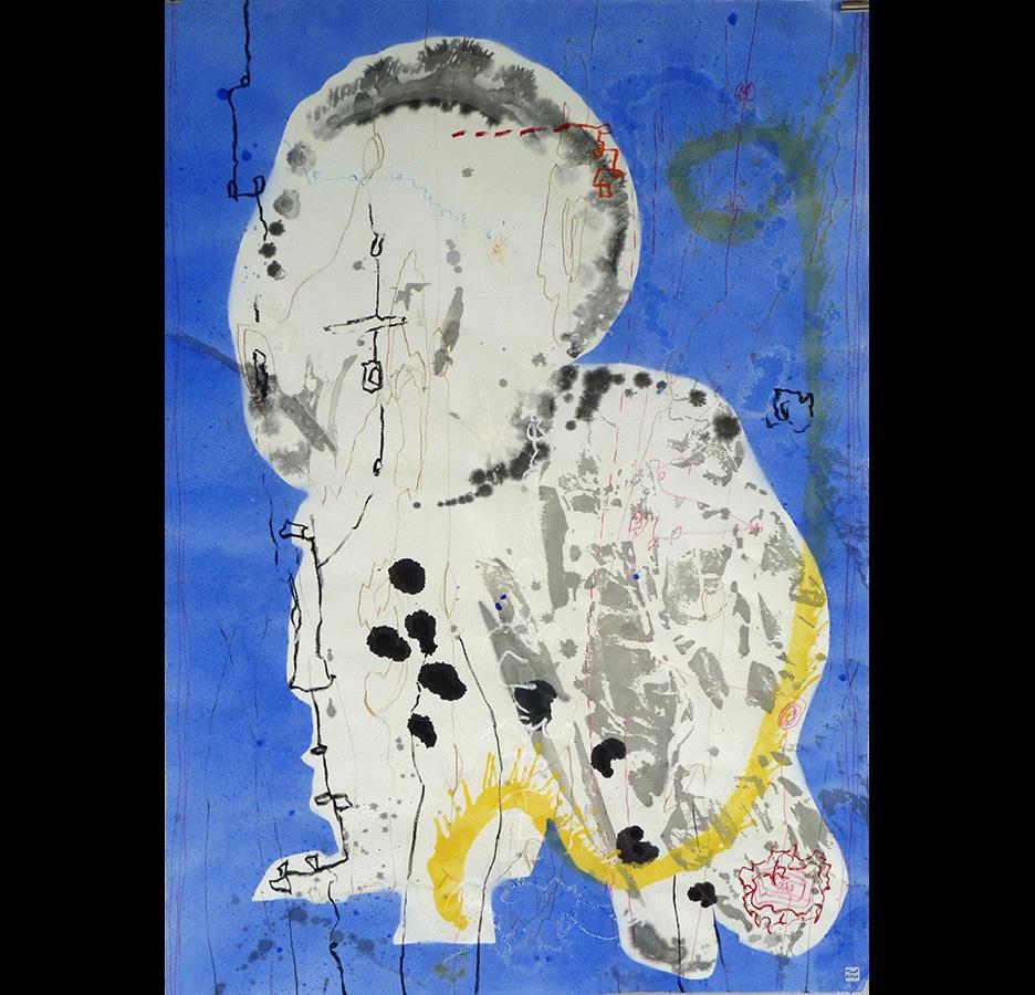 """Christophe TISSOT - Série """"New Signs"""" - 2015 - Encre, craies et pigments sur papier d'extrême orient - 142 x 102 cm"""