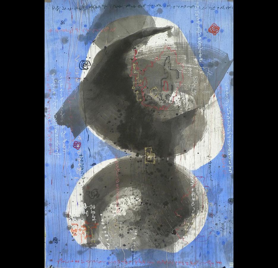 """Christophe TISSOT - Série """"New Signs"""" - 2015 - Encre, craies et pigments sur papier d'extrême orient 142 x 102 cm"""