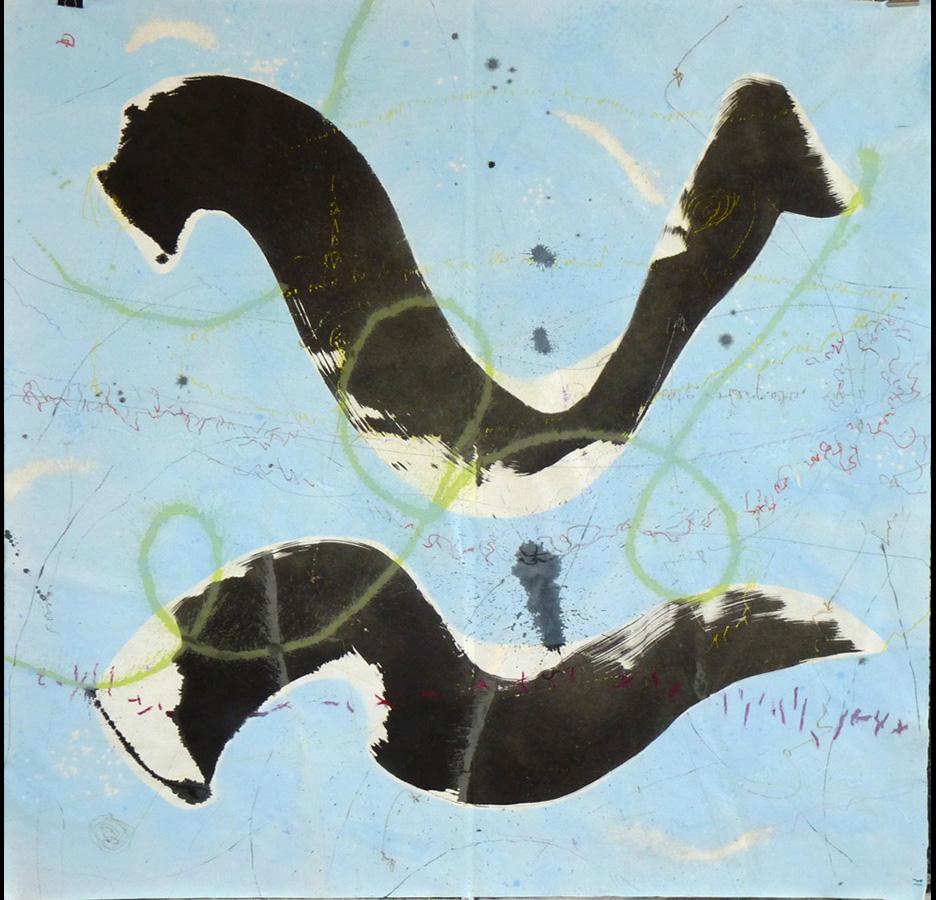"""Christophe TISSOT - Série """"New Signs"""" - 2015 - Encre, craies et pigments sur papier d'extrême orient - 186 x191 cm"""