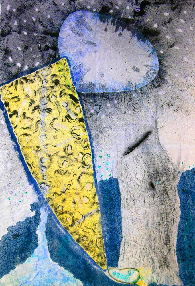 Christophe Tissot 2013/2015 Série Invisible Days- Encres, craies, tempera sur papier d'extrême Orient 2,80 x 1,91 m