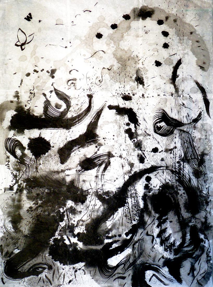 Christophe Tissot 2011 Série Trajectoire - Encre de Chine sur papier mûrier 1,91 x 1,36 m