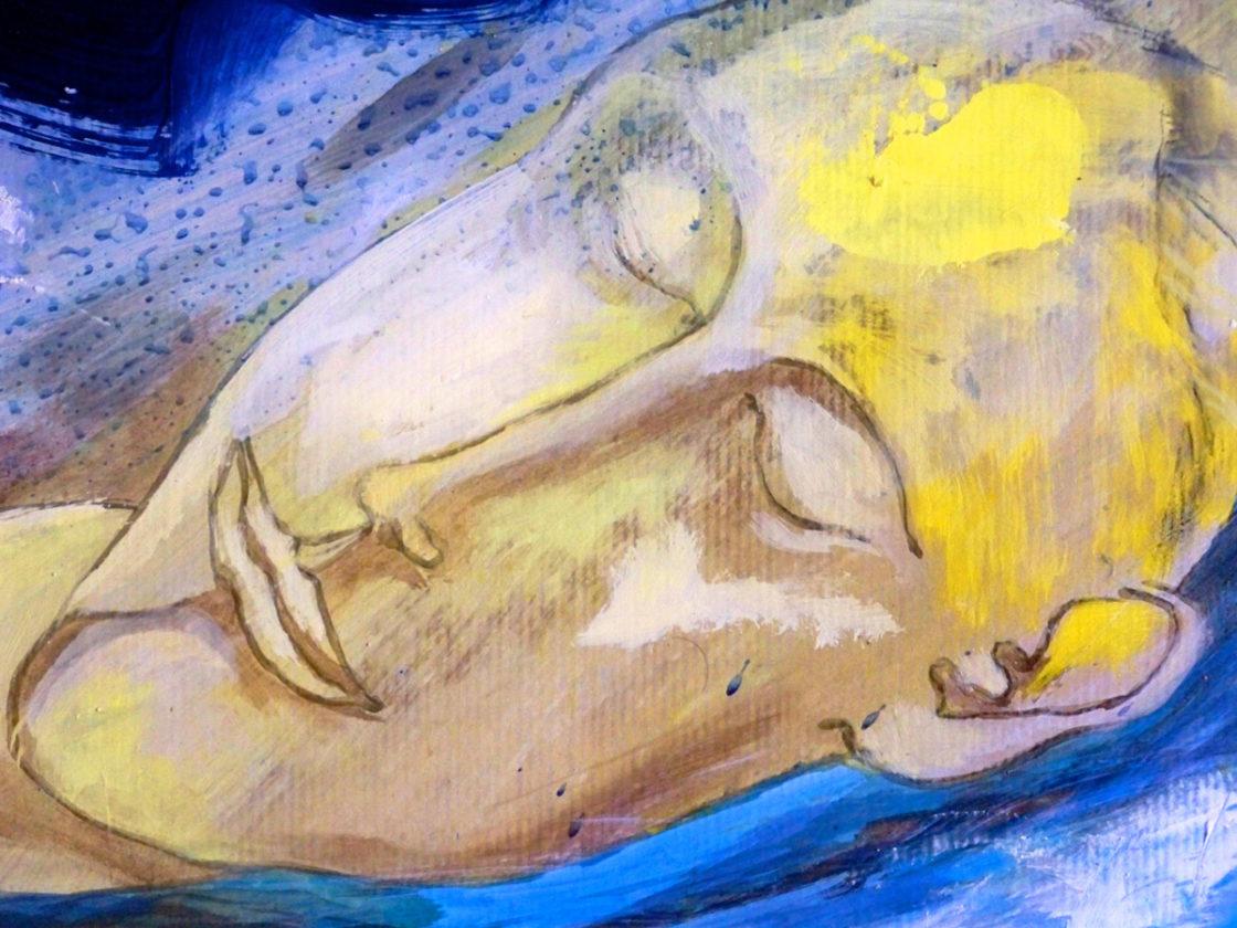 Christophe Tissot 2006 - le Fleuve Mémoire détail, huile sur papier Kraft polyptyque 2,10 m x 30 m