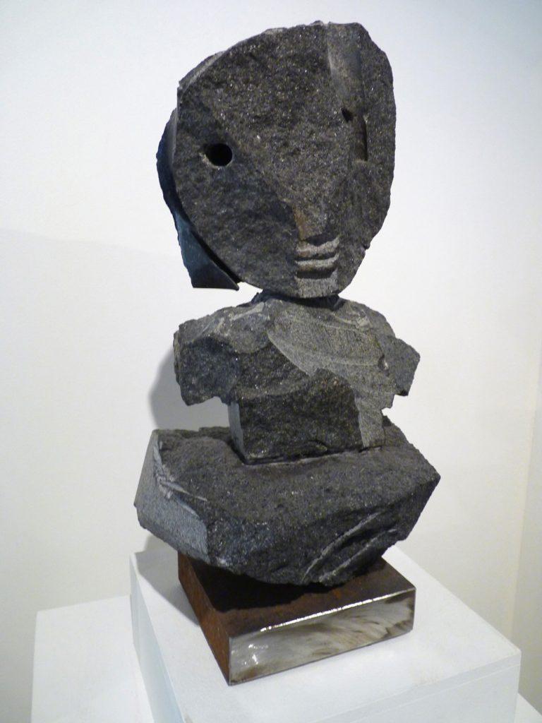 "Jean-Yves GOSTI - ""Janus sur son nuage "" - 2016 - Assemblage black granite noir - 35 x 19 x 20 cm"