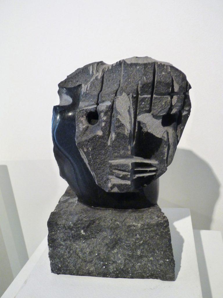"""Jean-Yves Gosti - """"Visage"""" - 2016 - Assemblage of black granite - 25 x 14.5 x 14,5 cm"""