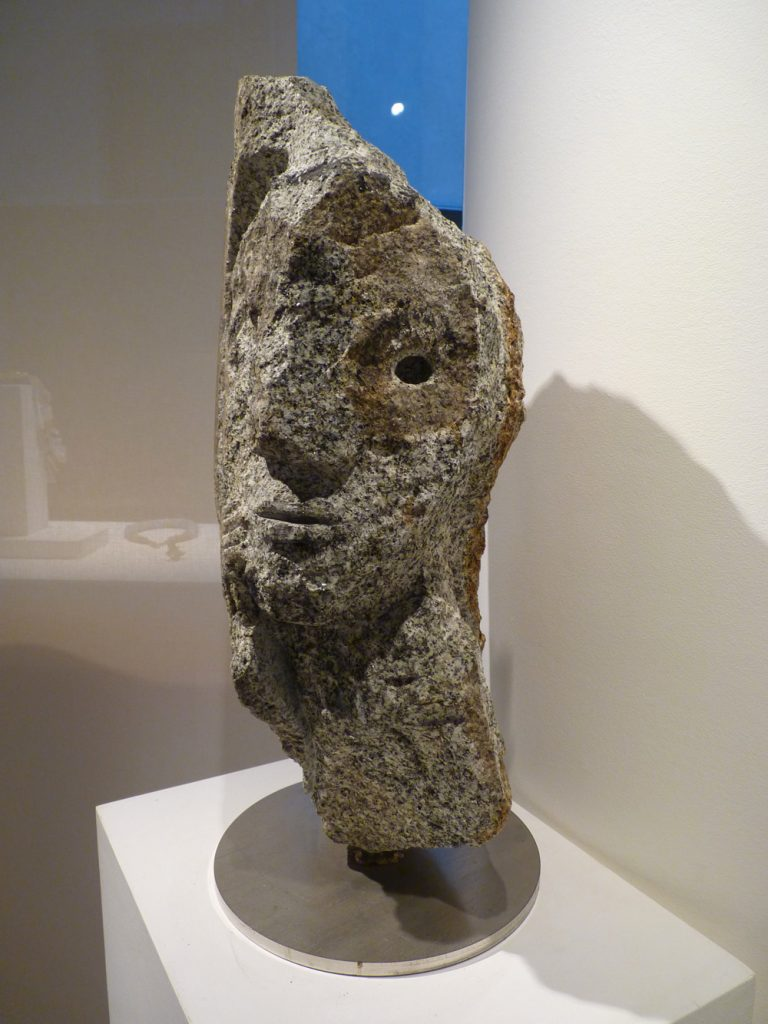 "Jean-Yves GOSTI - ""Janus au masque"" - 2011 - granite (front) - 61 x 35 x 27 cm"
